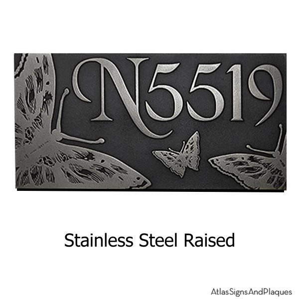 Butterfly Address Plaque Stainless Steel