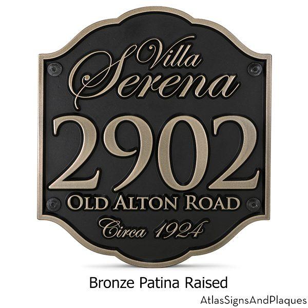 Casa Address Plaque Raised Bronze with Elegant Letters