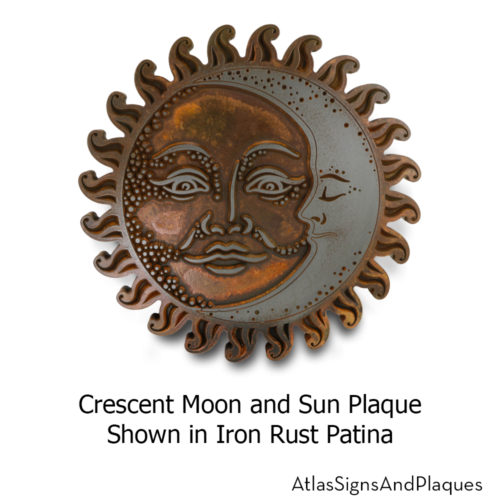 crescent moon and sun plaque