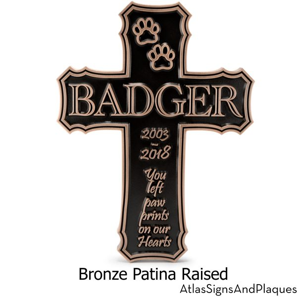Cross Pet Memorial Sign with Paw Prints