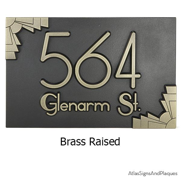 Deco Styling Address Plaque Brass Raised