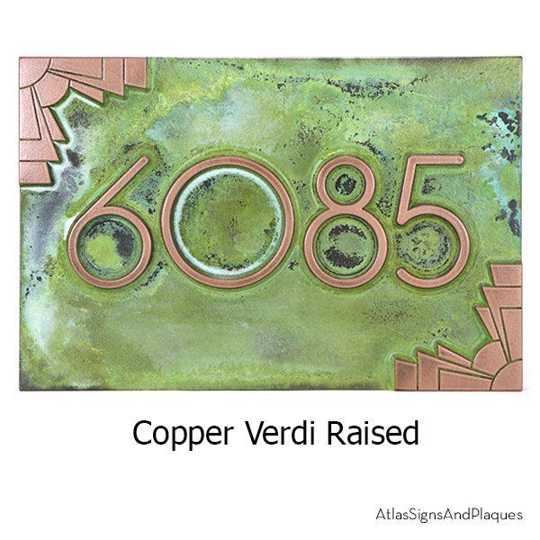 Deco Styling Address Plaque Copper Verdi Raised