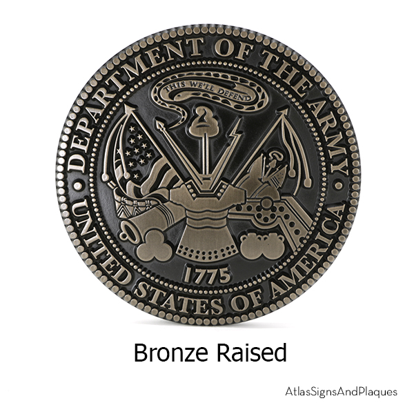 Dept Of The Army Bronze Raised