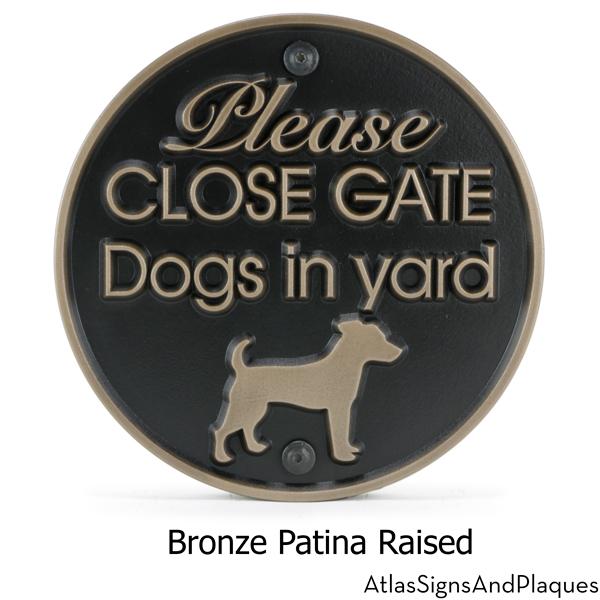 Dogs In Yard Plaque Bronze