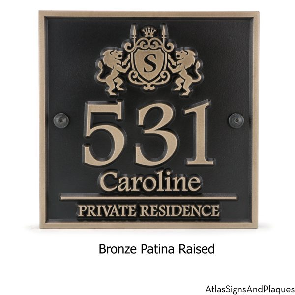 Family Crest Address Plaque Bronze