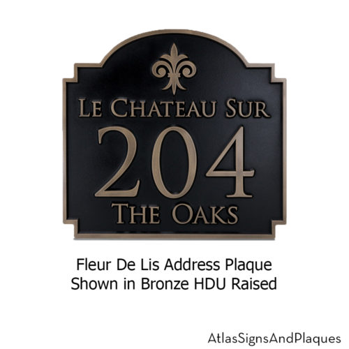 fleur de lis address plaque