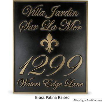Fleur Di Lis Villa Address Plaque Raised Brass