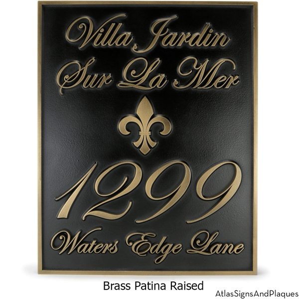 Fleur Di Lis Villa Address Plaque Raised Brass