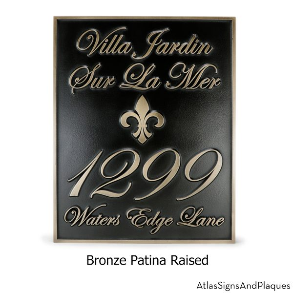 Fleur De Lis Villa Address Plaque with Elegant Numbers
