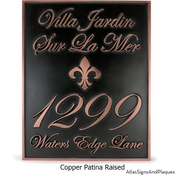 Fleur Di Lis Villa Address Plaque Copper