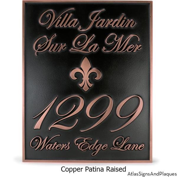 Fleur Di Lis Villa Address Plaque Copper