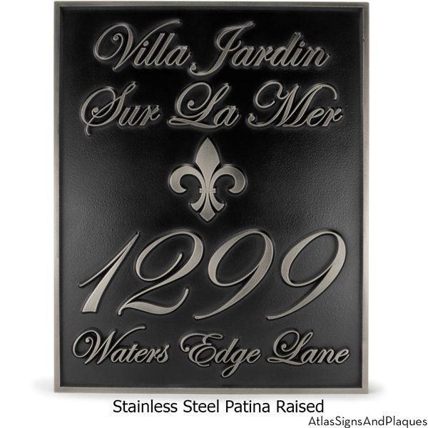 Fleur Di Lis Villa Address Plaque Stainless Steel
