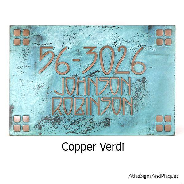 Frank Lloyd Craftsman Address Plaque Copper Verdi Raised