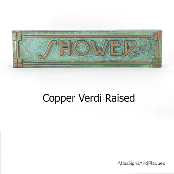 Frank Lloyd Wright Name Plate Plaque in Raised Copper Verdi