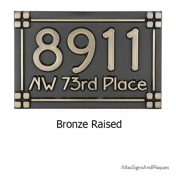 Frank Lloyd Wright Address Plaque Bronze Raised
