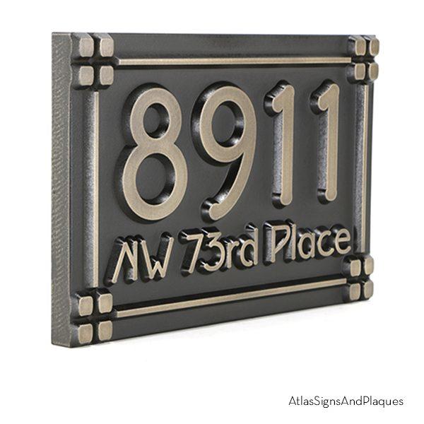 Frank Lloyd Wright Address Plaque Bronze Raised Angled View