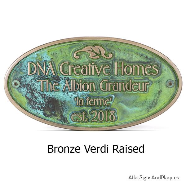 Garden Dedication Plaque Bronze Verdi Raised