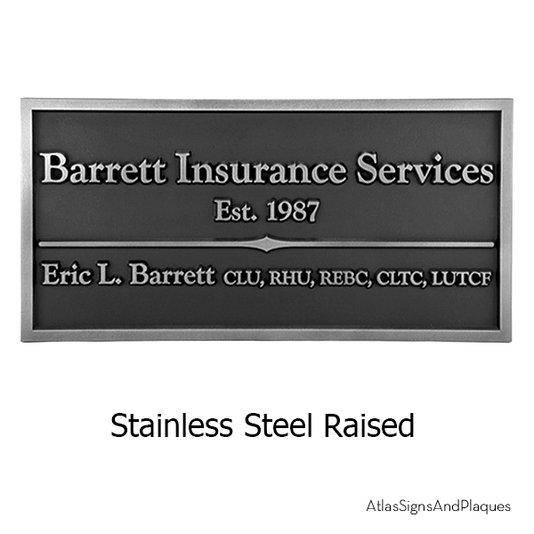 Stainless Steel Goudy Business Plaque