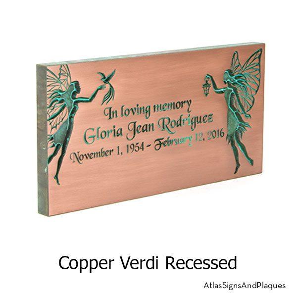 Fairy Memorial Plaque shown in Copper Verdi, recessed