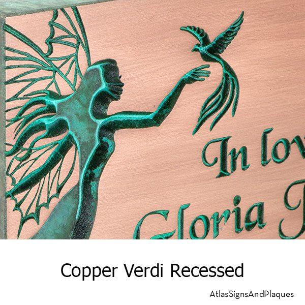 Recessed Fairy Memorial Plaque shown in Copper Verdi