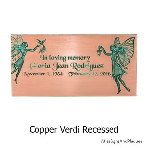 Copper Verdi, recessed finish on our Fairy Memorial Plaque
