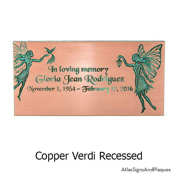 Copper Verdi, recessed finish on our Fairy Memorial Plaque