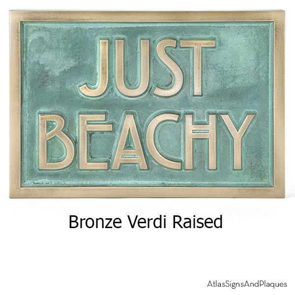 Stickley Phrase Plaque Bronze Verdi Raised