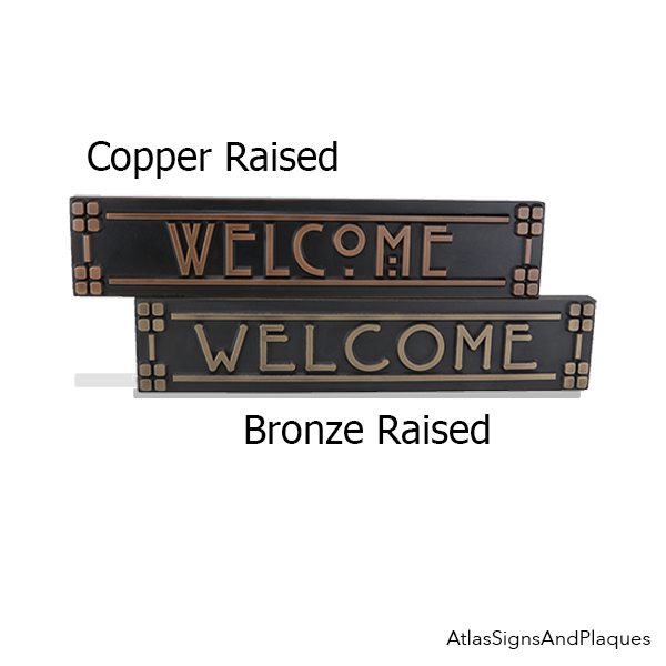 Large Craftsman Welcome Signs Bronze and Copper