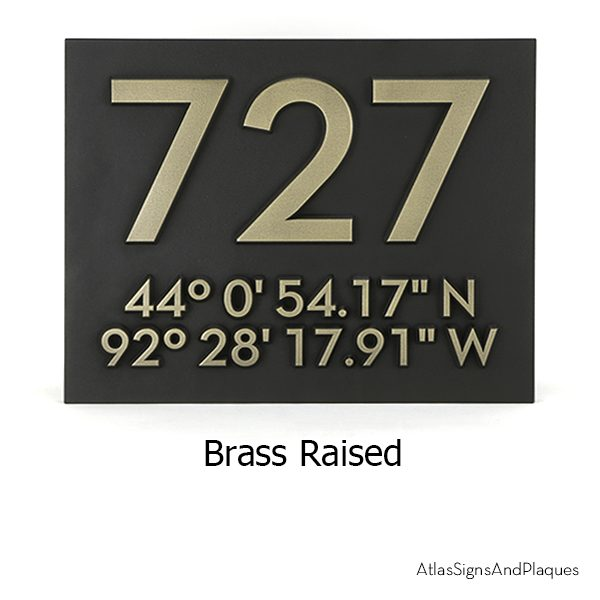Latitude Longitude Address Number Plaque Brass Raised