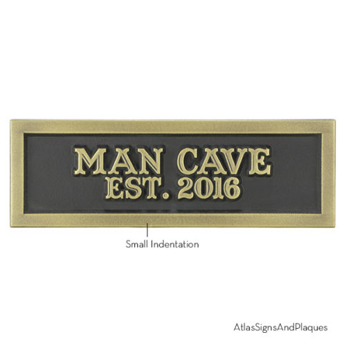 Man Cave Est 2016 Brass Raised