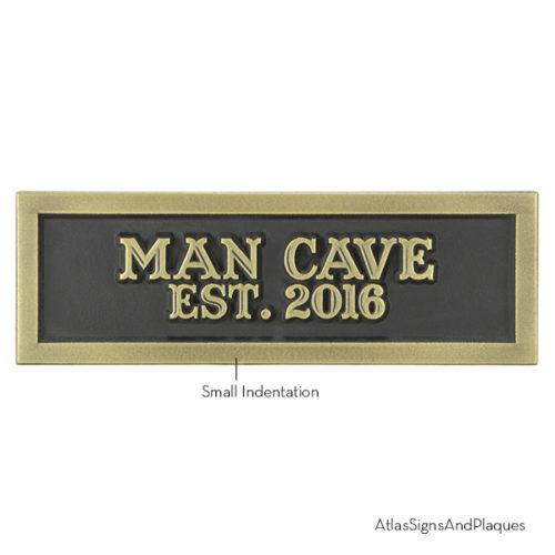 Man Cave Est 2016 Brass Raised