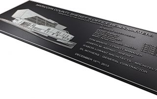 """8""""H x 24""""W Precision Tooled Aluminum with Etched Line Art Building"""