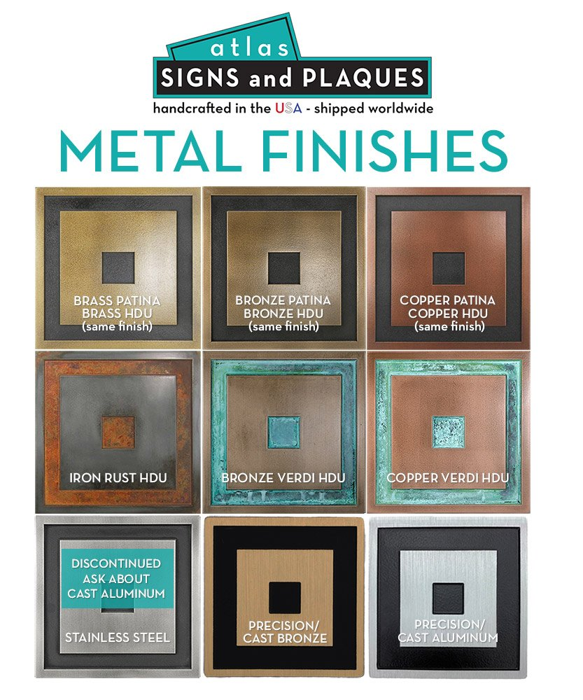 Atlas Signs and Plaques Metal Finishes