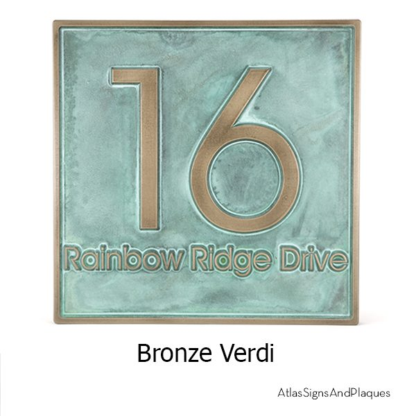 Modern Advantage Address Plaque Bronze Verdi Raised