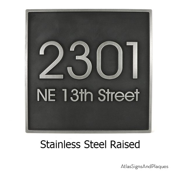 Modern Advantage Address Plaque Stainless Steel Raised