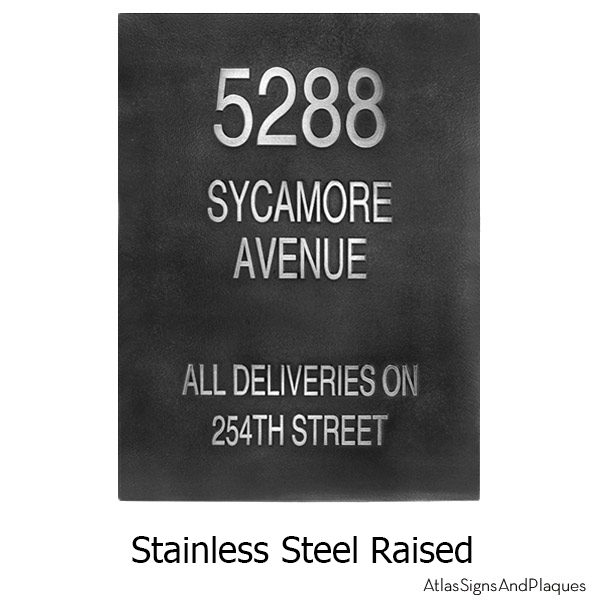 Raised Stainless Steel Address Sign