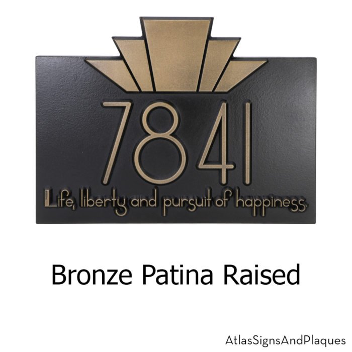 Moderne Art Deco Address Plaque