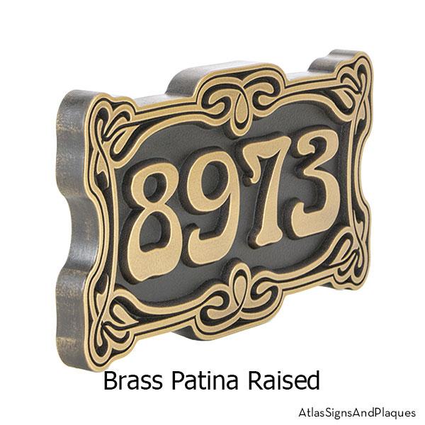 Brass, Art Nouveau, Address Sign