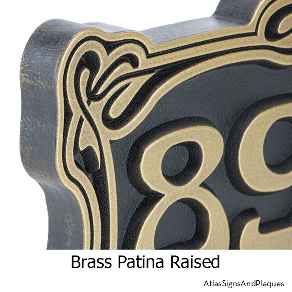 Brass, Art Nouveau, Address Sign