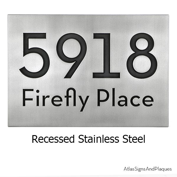 Neutraface Address Plaque Recessed Stailess Steel