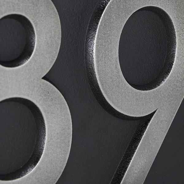 Neutraface Numbers Detail Raised Stainless Steel