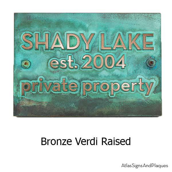 Neutraface Phrase Plaque- Bronze Verdi Shown with Optional holes for T30 Screws