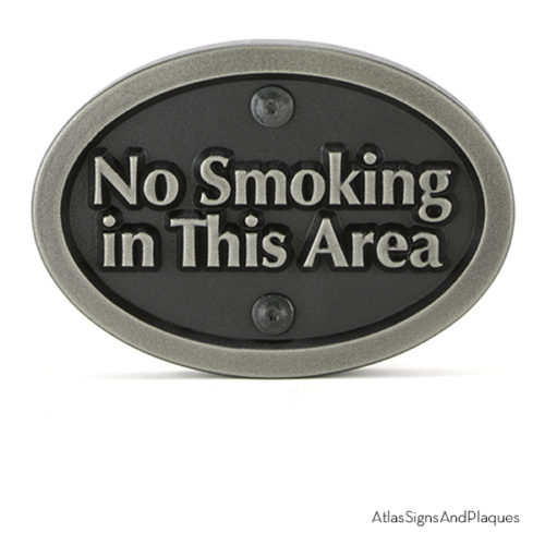 No Smoking In This Area Silver Nickel Raised