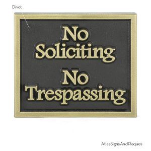 No Soliciting No Trespassing Brass Raised