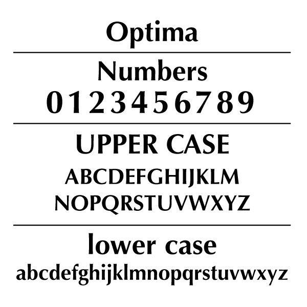 Optima Font Card