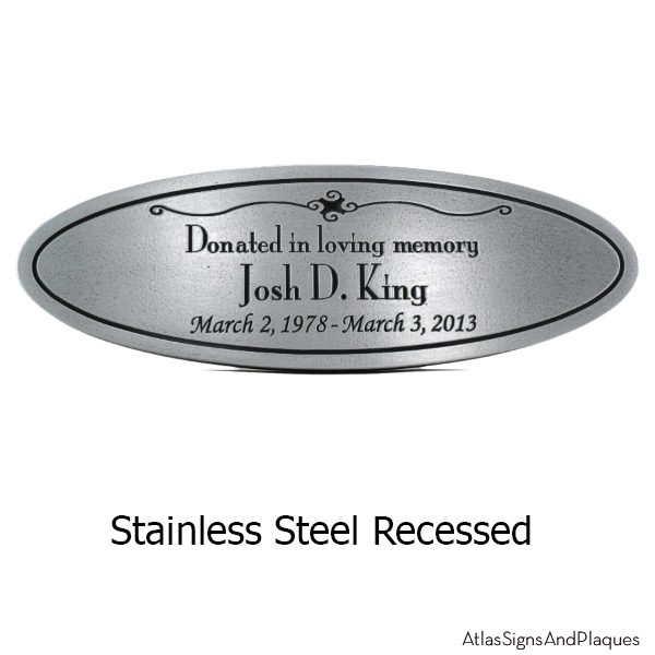 Stainless Steel Oval Memorial Plaque