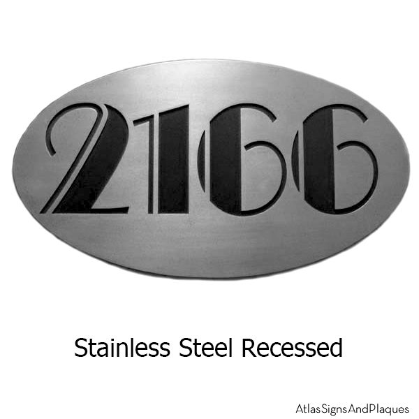 Oval Art Deco Stainless Steel Address Plaque