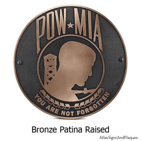 Bronze POW MIA Plaque – Not Forgotten