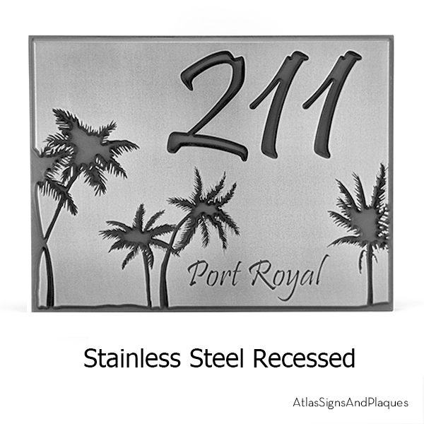 Palm Tree Address Plaque Stainless Steel Recessed