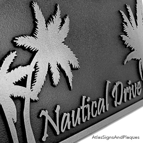 Rectangle Stainless Steel Palm Tree Address Plaque